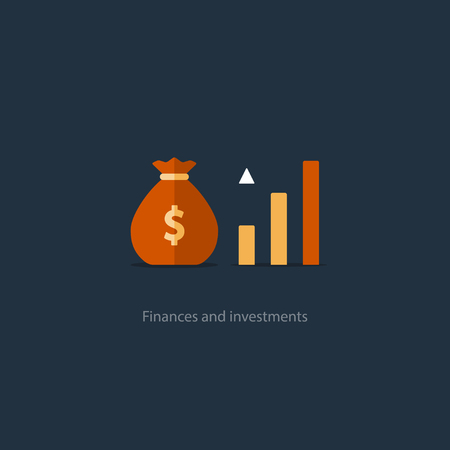 savings account: Compound interest, added value, financial investments in stock market, future income growth, revenue increase, money return, pension fund plan, budget management, savings account, banking vector icon