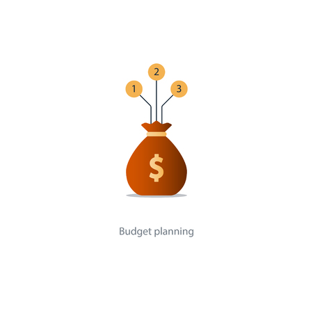 savings account: Financial investment plan, money sack icon, interest return, income diversification strategy, pension savings account, budget fund vector illustration
