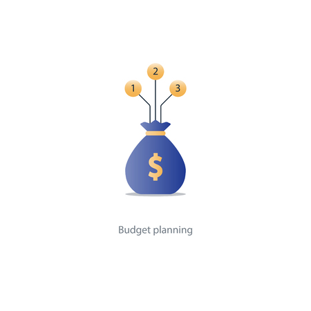 knowlage: Financial investment plan, money sack icon, interest return, income diversification strategy, pension savings account, budget fund vector illustration