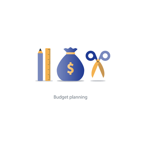 Budget fund measure and plan spending, financial calculation tools, investment strategic solution, money analytics, vector illustration icons