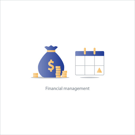 installment: Financial calendar, budget plan, payment schedule, tax pay day, monthly installment, time period, annual money income, vector illustration icon