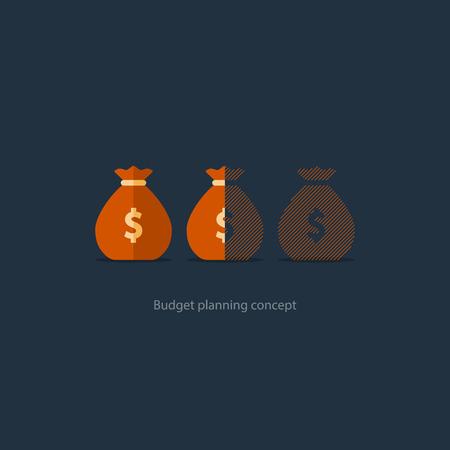 Presupuesto de planificación de capital, inversión financiera, la pérdida de dinero, icono de saco, límite de descubierto, cuenta de ahorros de pensiones, ilustración vectorial déficit del fondo