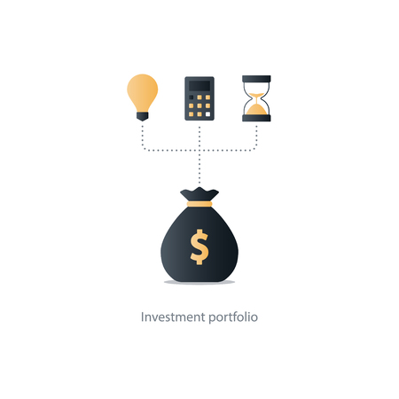 Compound interest, time is money, added value, financial investments in stock market, future income growth concept, revenue increase, money return, pension fund plan, budget management, savings account, banking vector illustration icon Illustration