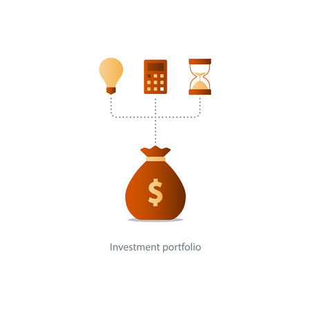savings account: Compound interest, time is money, added value, financial investments in stock market, future income growth concept, revenue increase, money return, pension fund plan, budget management, savings account, banking vector illustration icon Illustration