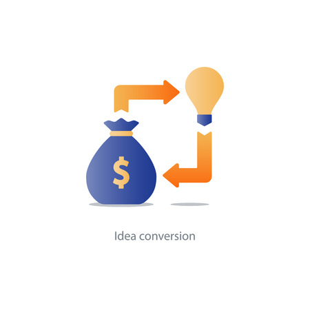 converge: Investment idea, financial concept, start up fund, light bulb icon, business solution, vector illustration