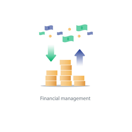 savings account: Compound interest, added value, financial investments in stock market, future income growth concept, revenue increase, money return, pension fund plan, budget management, savings account, banking vector illustration icon