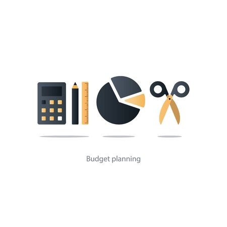 spending: Budget fund measure and plan spending, financial calculation tools, investment strategic solution, money analytics, vector illustration icons Illustration
