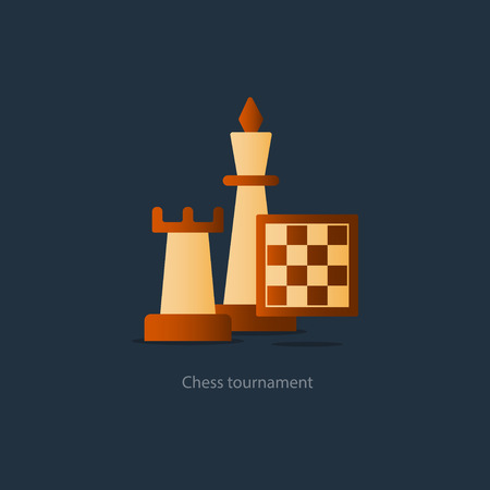 chess rook: Chess board game, competition concept, rook icon, chess club vector illustration Illustration