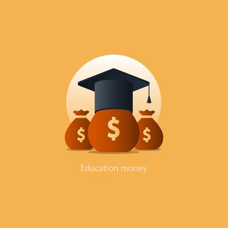 Education grant, tuition fee, money bags, financial education, budget fund, scholarship program, graduation hat vector illustration icon