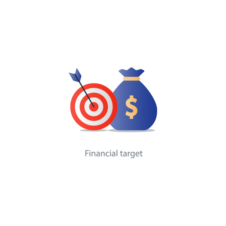 Financial target, money savings, reach goal icon, successful investment concept illustration