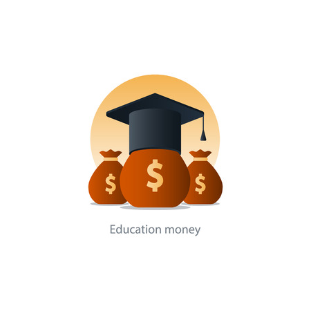 Money bags for aiding education - illustration icon