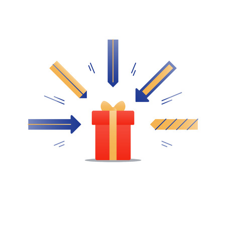 Special gift, red box with yellow ribbon and arrows illustration