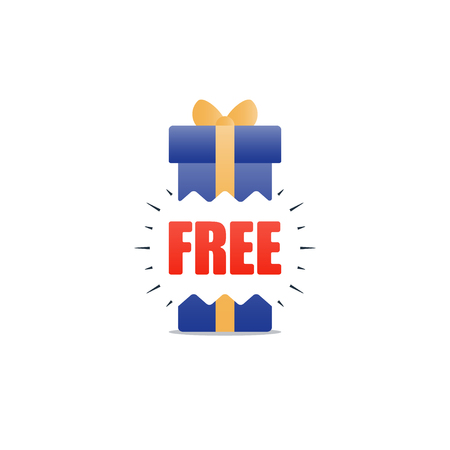 complimentary: Free gift special offer icon, bonus concept, sale discount program illustration