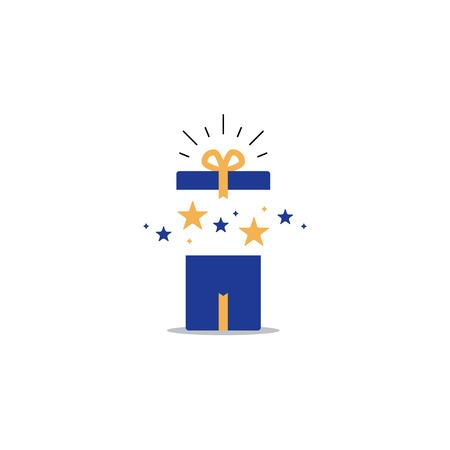 놀라운 선물, 열린 된 선물 상자, 특이 한 경험, 특별 한 축 하, 생일 파티, 벡터 평면 그림 일러스트