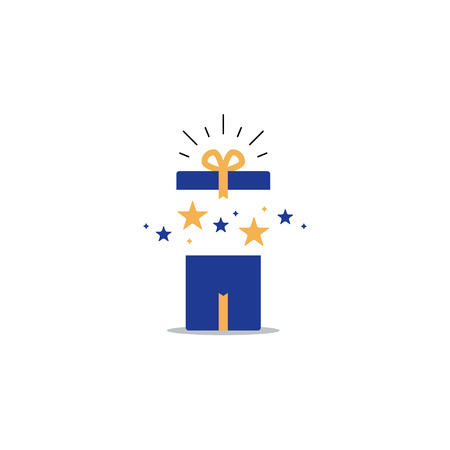 Surprising gift, opened present box, unusual experience, special celebration, birthday party, vector flat illustration 矢量图像
