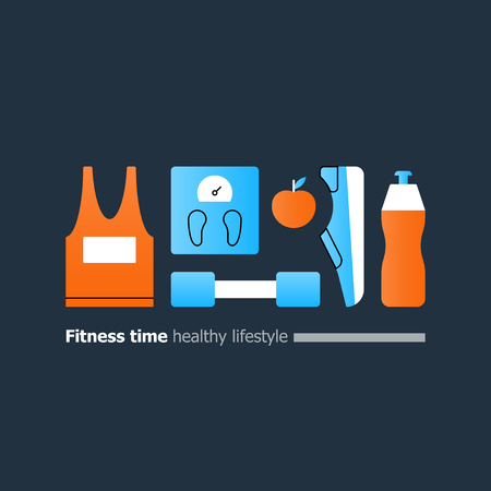 Fun fitness, healthy sport activity, sneakers, trainers, shoes icons, watter bottle symbol, weight scales, vector flat design illustration