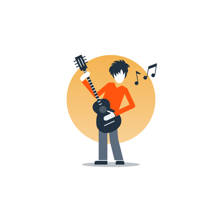 Rock music live performance, guitarist playing music, rehearsal concept, vector flat illustration
