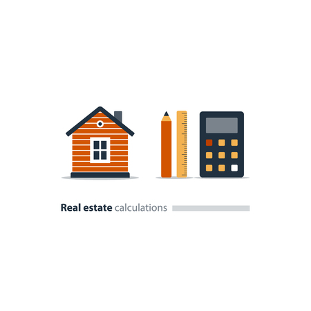 Housekeeping calculation icon, detached home, real estate appraisal, property investment, mortgage assessment, vector illustration Illustration