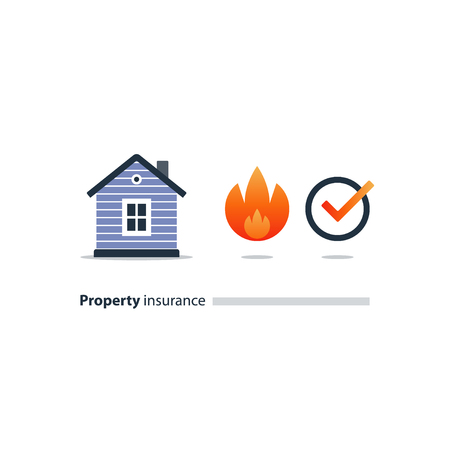 House fire insurance icon, burning home, vector illustration