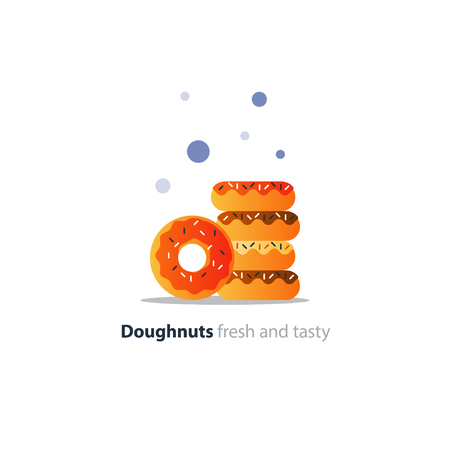 glazed: Colorful doughnuts in pile, sweet tasty ring donuts icon, glazed doghnuts with sprinkles, vector flat design illustration