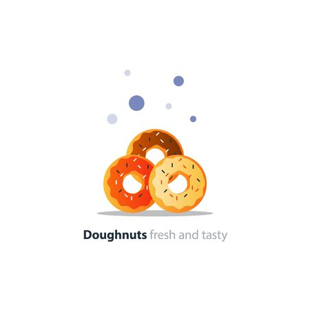 Three diverse colorful doughnuts in pile, sweet tasty ring donuts icon, glazed doghnuts with sprinkles, vector flat design illustration