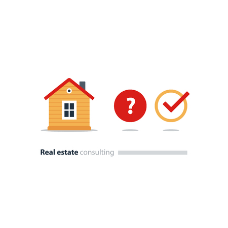 Real estate consulting services, decision concept, household solution, choose house, find home, question icon, vector flat illustration