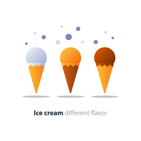 Chocolate, classic white vanilla and orange caramel ice cream in waffle sugar cone, ball top and pointed bottom, vector flat design illustration icon
