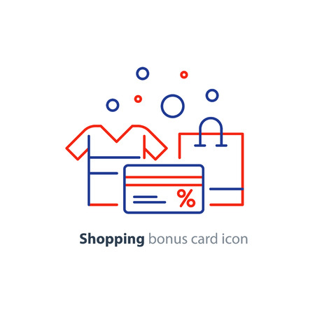 Bonus gift card, shopping bag, buy clothes, vector line icons. Illustration