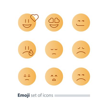 Set of flat yellow emoji icons, facial expressions, emoticon vector flat design