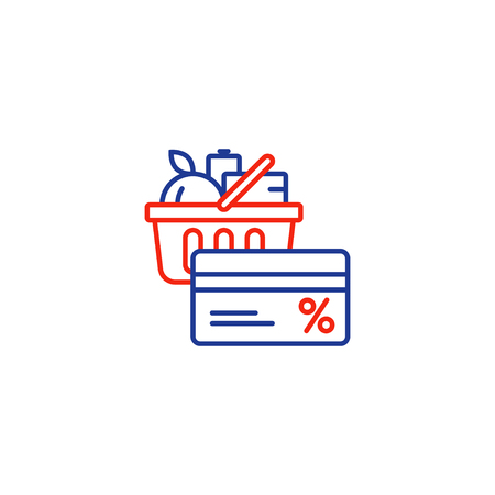 basketful: Full basket of food, grocery shopping purchase, special offer, bonus card, discount coupon, loyalty program, premium card vector line icon design