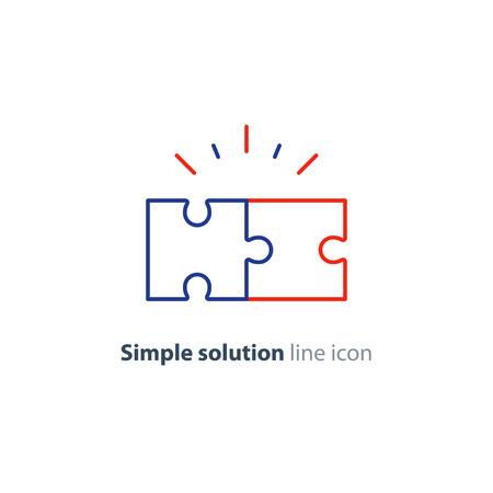 Eenvoudig oplossingsconcept, compatibiliteitslijnpictogram, puzzelstukken samenstellen, probleem oplossen