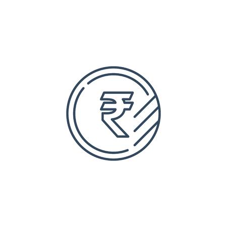 Währungszeichen, Geldwechsel, Rubelmünze, Vektor Mono Line Icons