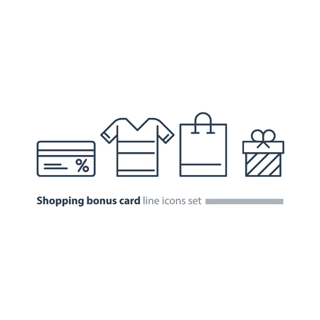 Bonus gift card, shopping bag, buy clothes, vector line icons