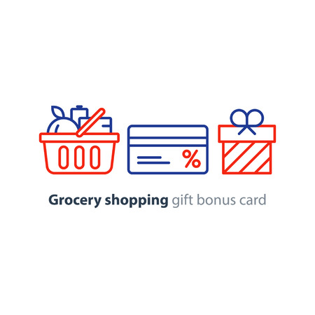 basketful: Full basket of food, grocery shopping purchase, special offer, bonus card, discount coupon, loyalty program gift, premium card vector line icon design Illustration