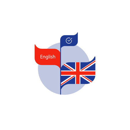Learning British English concept, language course, English flag icon, vector flat illustration Stock Illustratie