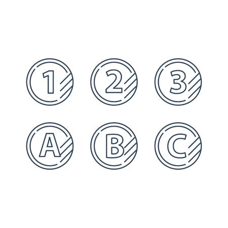 Tokens met nummer één twee drie en letters ABC, eerste seconde derde niveau, upgradeconcept, ronde classificatie monolijn vectorpictogrammen