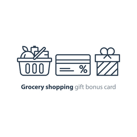 Full basket of food, grocery shopping purchase, special offer, bonus card, discount coupon, loyalty program gift, premium card vector line icon design Illustration