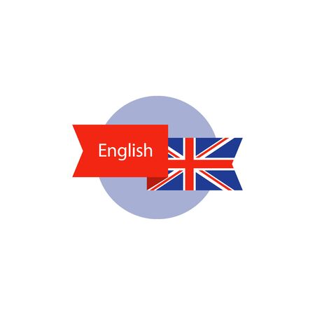 fluency: Learning British English concept, language course, English flag icon, vector flat illustration Illustration