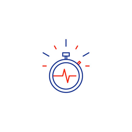 Fast time stop watch vector line icon, quick delivery logo, fitness session, speed hour Illustration