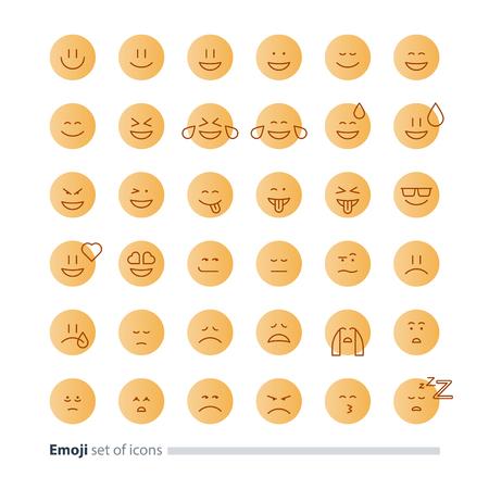 Big set of small linear emoji icons, black white mono line design, facial expressions, flat emoticon vector