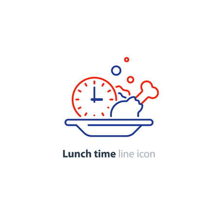 Food meal order, full plate, lunch time concept, serve dinner dish, vector line icon