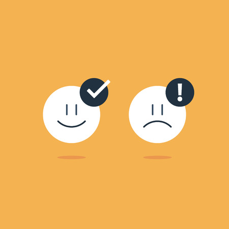 concerns: Bad, good experience, happy, unhappy emoji icons, customer support services, feedback concept, positive, negative emotions, vector flat illustration Illustration