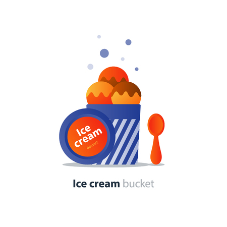 Colorful ice cream in bucket, three ball scoop with topping, opened cover with spoon, gelato portion, fruit flavor, vector flat design illustration icon