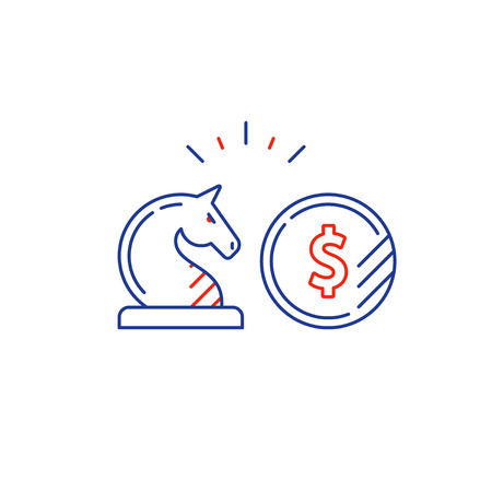 Financial investment strategy and management concept, finance planning logo, business start up money, pension plan, retire savings, superannuation, insurance mono line vector illustration Illustration
