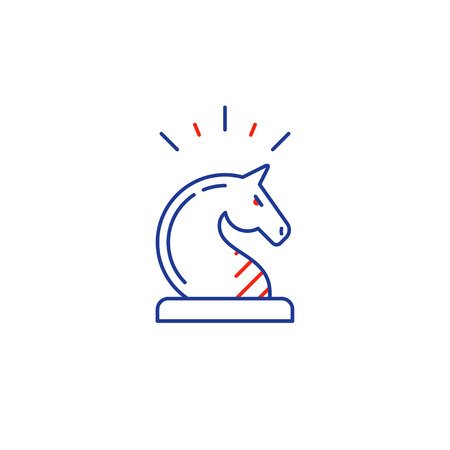 Business strategy logo, chess knight horse, training concept vector mono line icon Illustration