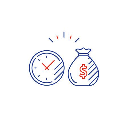 El tiempo es dinero, el interés compuesto, las inversiones financieras del mercado de valores, el crecimiento de los ingresos futuros, el aumento de los ingresos, el retorno de dinero, el fondo de pensiones, la gestión del presupuesto, la cuenta de ahorros, la banca icono vectorial