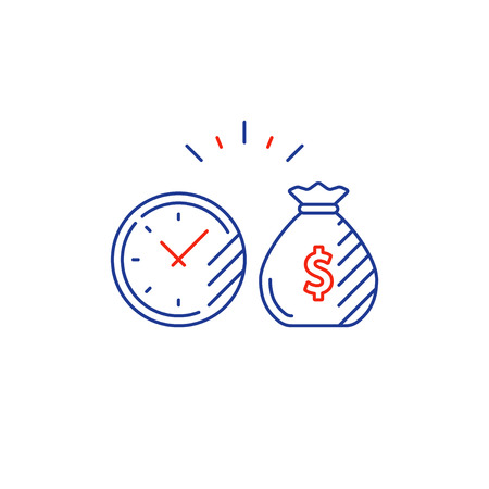 Time is money, compound interest, financial investments stock market, future income growth, revenue increase, money return, pension fund plan, budget management, savings account, banking vector icon