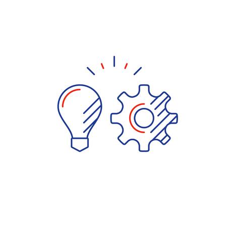 Concepto de estrategia y gestión, integración de nueva tecnología, logotipo de planificación de proyecto, inicio de negocio, ilustración de vector de línea mono