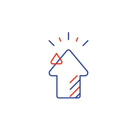 Growth concept, higher level, upgrade plan, financial increase, mono line vector icon Illustration