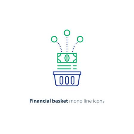 bucket of money: Investment basket, budget planning, fund rising, savings account, financial investment strategy concept, income growth, cash back, vector mono line icon Illustration